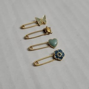 Set of 4 80s Vintage Mini Safety Accessory Pins